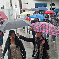 Santa Monica College students take cover under their umbrellas after getting off the bus on Pico Blvd on Monday, December 12, 2011.