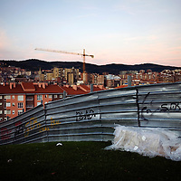 A makeshift bed out in the open. Some immigrants arriving to Bilbao find themselves without job or place to live and are forced to find shelter in the streets.