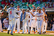 SAN JUAN, PUERTO RICO FEBRUARY 4: Infielder for  Venezuela, Ehire Adrianza, celebrates with his teammates  during the game against the Dominican Republic  on February 4, 2015 in San Juan, Puerto Rico at Hiram Bithorn Stadium(Photo by Jean Fruth)