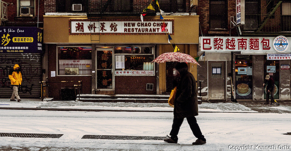 During the blizzard of 2007 I was in China town in Manhattan working on a television series. As I parked my car in a lot and began walking out I came upon this image.