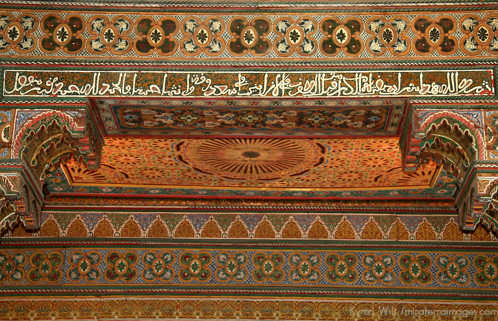 North Africa, Morocco, Marrakesh. Painted cedar woodwork of El Bahia Palace
