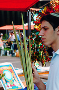 For any of the 4 species to be used for the religious ritual they must be up to speck. A buyer is examining the lulav to verify its quality