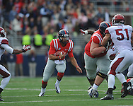 Mississippi quarterback Barry Brunetti (11) vs. Arkansas at Vaught-Hemingway Stadium in Oxford, Miss. on Saturday, November 9, 2013. Mississippi won 34-24. (AP Photo/Oxford Eagle, Bruce Newman)
