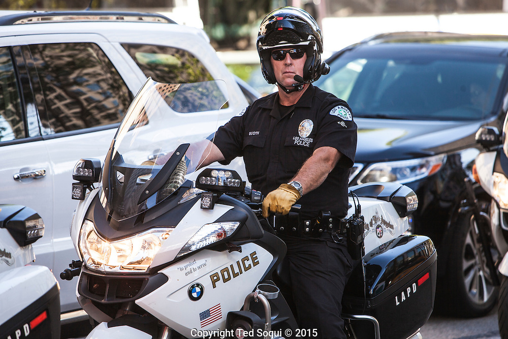 LAPD motorcycle unit keeps an eye on the protest.<br /> Solidarity protest for the city of Baltimore in downtown Los Angeles today. Today is also the eve of the 23rd anniversary of the 1992 LA Riots.