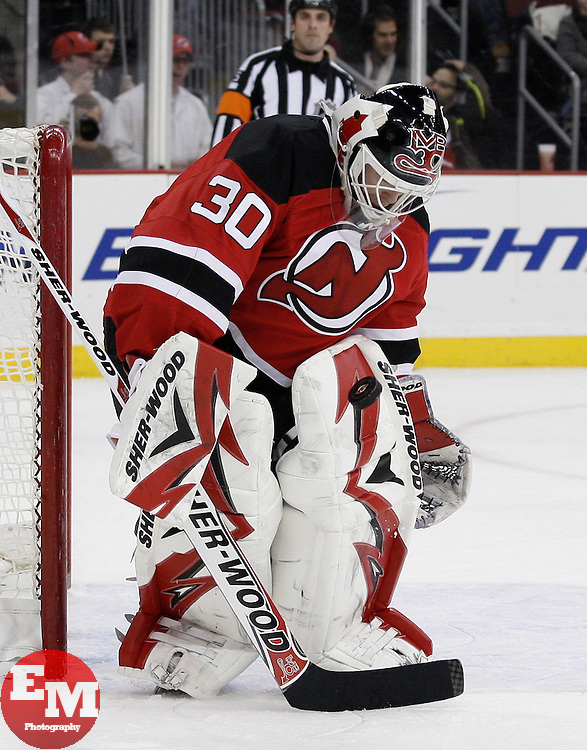 Dec 30, 2009; Newark, NJ, USA; New Jersey Devils goalie Martin Brodeur (30) makes a pad save during the first period at the Prudential Center.
