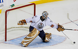 Nov 9, 2008; Newark, NJ, USA; Edmonton Oilers goalie Jeff Drouin-Deslauriers (38) makes a save during the third period of their game against the New Jersey Devils at the Prudential Center. The Oilers defeated the Devils 2-1.