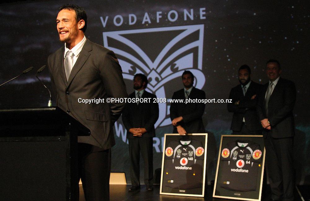 Logan Swann. Vodafone Warrior's annual awards, Sky City Convention Centre, Auckland. 16 September 2008. Photo: Andrew Cornaga/PHOTOSPORT
