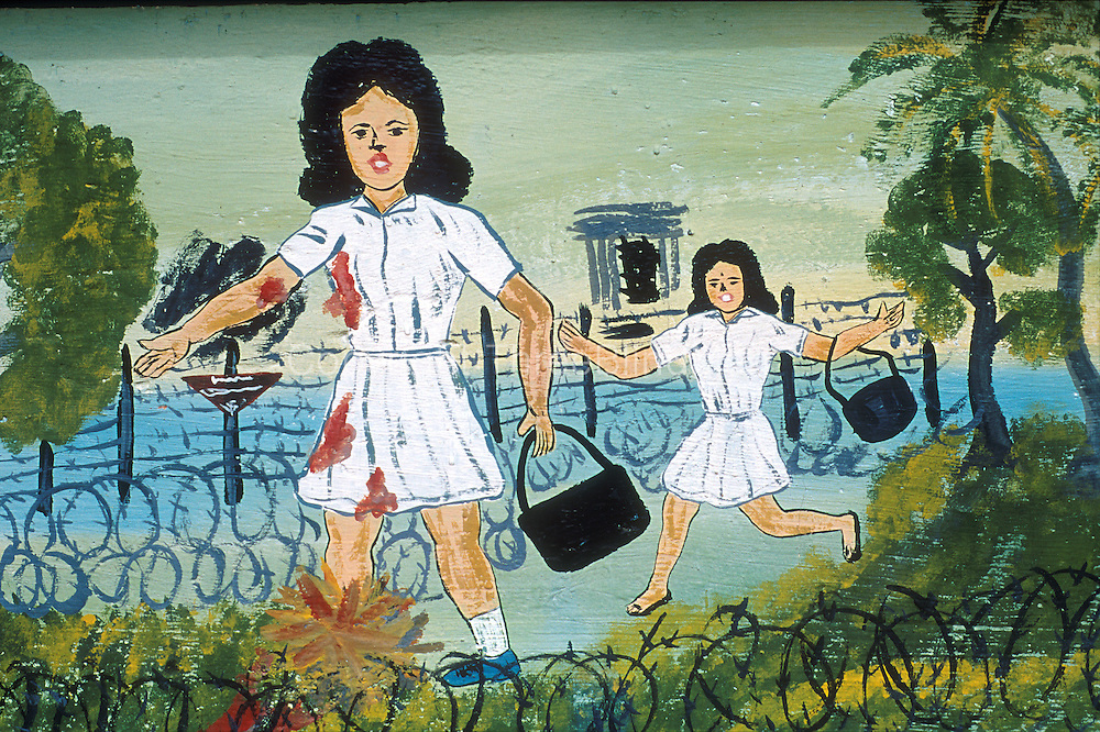 Land mine warning for school children painted on a public wall. Jaffna.