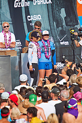 HUNTINGTON BEACH, California/USA (Saturday, August 7, 2010) - Carissa Moore flanked Sally Fitzgibbonsby at the awards platform after defeating Sally Fitzgibbons of Australia to win  the Hurley US Open of Surfing 2010. Photo: Eduardo E. Silva