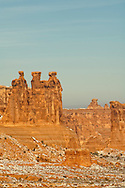 Three Gossips, Sheep Rock, in Courthouse Towers area, Arches National Park, Utah