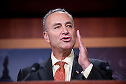 Aug 5, 2010 - Washington, District of Columbia, U.S., -  Senator CHUCK SCHUMER (D-NY) during a press conference after the United States Senate confirmed Solicitor General Elena Kagan as the 112th justice to the Supreme Court Thursday by a vote of 63-37. Kagan could be sworn into her judicial post by week's end..(Credit Image: © Pete Marovich/ZUMA Press)