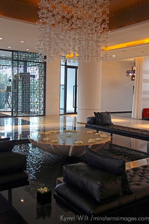 Africa, Morocco, Rabat. Lobby of Sofitel Jardin des Roses hotel, a luxury renovated palace.