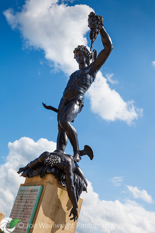 Perseus stands triumphantly over the body of the Medusa, at Trentham Gardens, Stoke-on-Trent, Staffordshire.