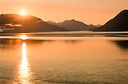 Alaska. Chugach Mts. Turnagain Arm just after sunset near Girdwood.
