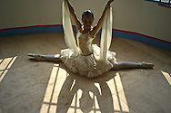 Model relased photo of Gina, a Colombian professional ballet dancer   at ¨Los Cisnes¨Dance School in Cartagena.