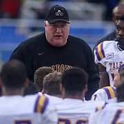 Albany head coach Greg Gattuso talks to his team after a week nine Colonial Athletic Association Conference win over the Delaware Blue Hens Saturday, Nov. 07, 2015 at Tubby Raymond Field at Delaware Stadium in Newark, DE.