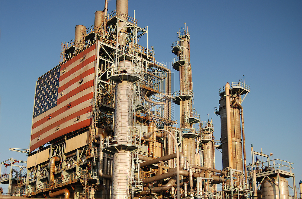 Oil Refinery decorated with American flag