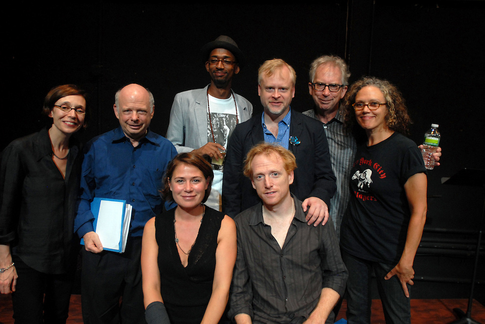 Photo shows (back from left) Frances Coady, Wallace Shawn, Modesto Jimenez, Stephen Haff, Peter Carey, Kate Valk, (front) Maura Tierney, Scott Shepherd...An evening of readings with Peter Carey Booker Prize novelist at at The Performing Garage. 33 Wooster Street, Manhattan.Readings were performed by Wallace Shawn, Scott Shepherd, Maura Tierney, and students from Still Waters in a Storm. Selections from Mr. Carey's work were read, including a preview of his new novel..Hosted by Kate Valk of The Wooster Group and Frances Coady, publisher of Picador U.S.A. All proceeds benefited 'Still Waters in a Storm' A reading and writing sanctuary for children in Bushwick, Brooklyn.