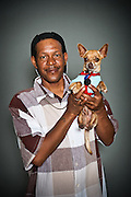 Cresent Turner with Peewee, his year and a half old chihuahua.