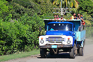 Truck on the coast road west of  Santiago de Cuba, Cuba.