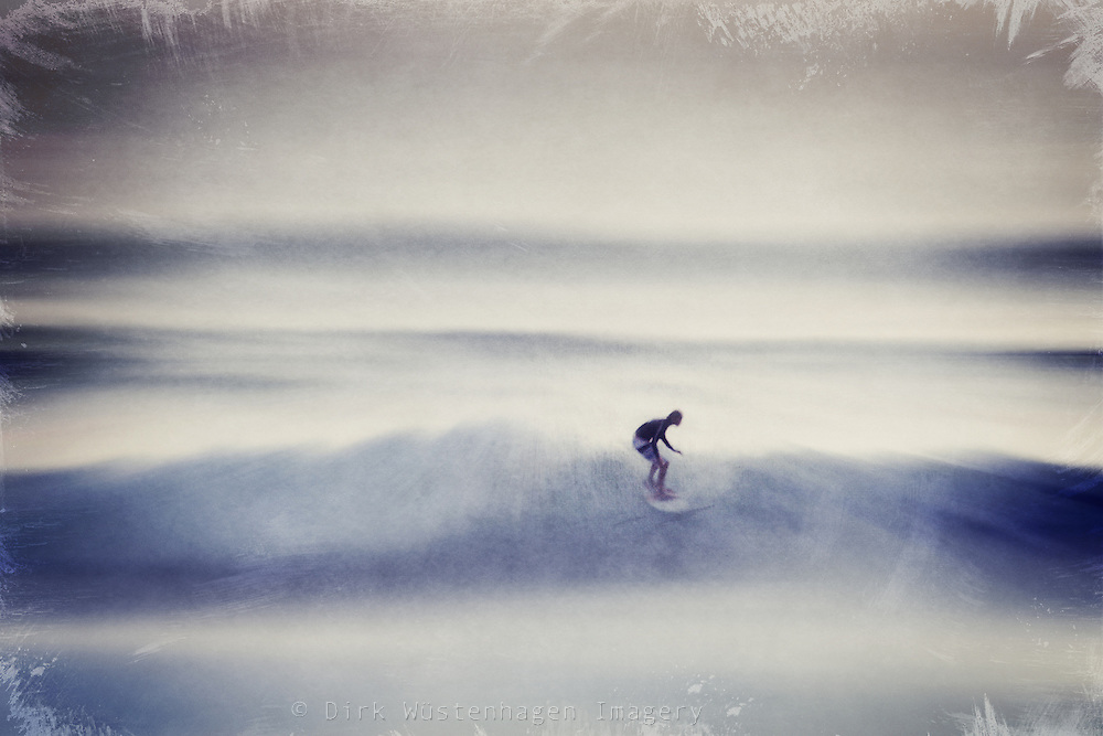 Surfer riding the wavves. Abstraction of a photo.<br /> Prints: http://society6.com/DirkWuestenhagenImagery/the-ride-ZLZ_Print