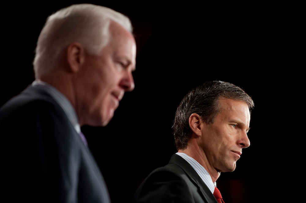 Dec 15, 2010 - Washington, District of Columbia, U.S. -  Senators JOHN CORNYN (R-TX) and JOHN THUNE (R-SD) hold a news conference on their opposition to the omnibus spending bill. (Credit Image: © Pete Marovich/ZUMA Press)