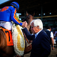 Trainer, Bob Baffert celebrates with Mike Smith after winning the Santa Anita Handicap with Game On Dude at Santa Anita Park on March 8, 2014 in Arcadia, California. (Photo by Evers/Eclipse Sportswire)