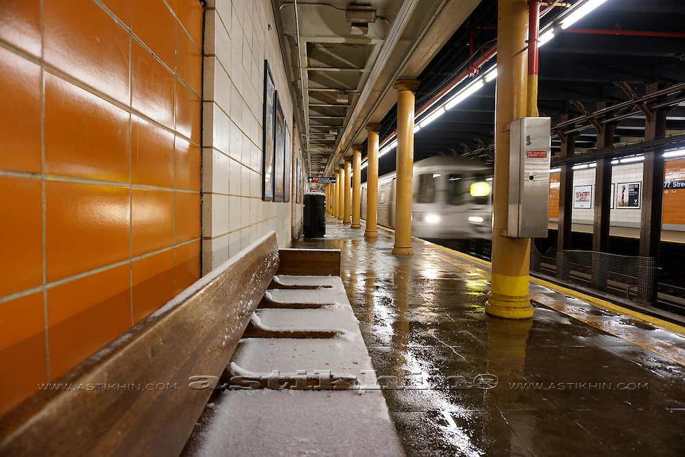 Snow in Subway Station.