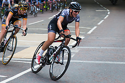 Westminster, London, August 1st 2015. Top women cyclists compete in the Prudential Ride London Grand Prix around St James's Park.