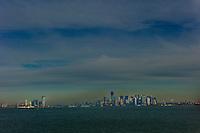 Lower Manhattan skyline as seen from the Staten Island Ferry in New York City. World Trade Center in construction. <br /> <br /> Photo by Robert Caplin