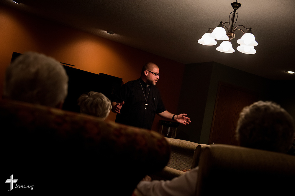 The Rev. Joel Fritsche, career missionary to the Dominican Republic, visits visits with shut-in parishioners from his former congregation of Zion Lutheran Church and School, Staunton, Ill., on Wednesday, April 26, 2017.  LCMS Communications/Erik M. Lunsford