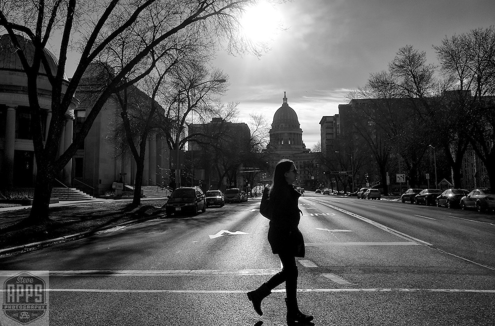 Looking down Wisconsin Ave in Madison, Wisconsin Tuesday, Feb. 14, 2017.