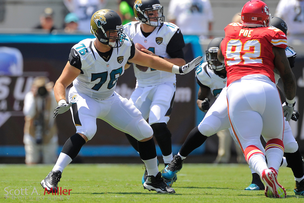 Jacksonville Jaguars offensive tackle Luke Joeckel (76) during the Jags 28-2 loss to the Kansas City Chiefs at EverBank Field on Sept. 8, 2013 in Jacksonville, Florida. The <br /> <br /> &copy;2013 Scott A. Miller