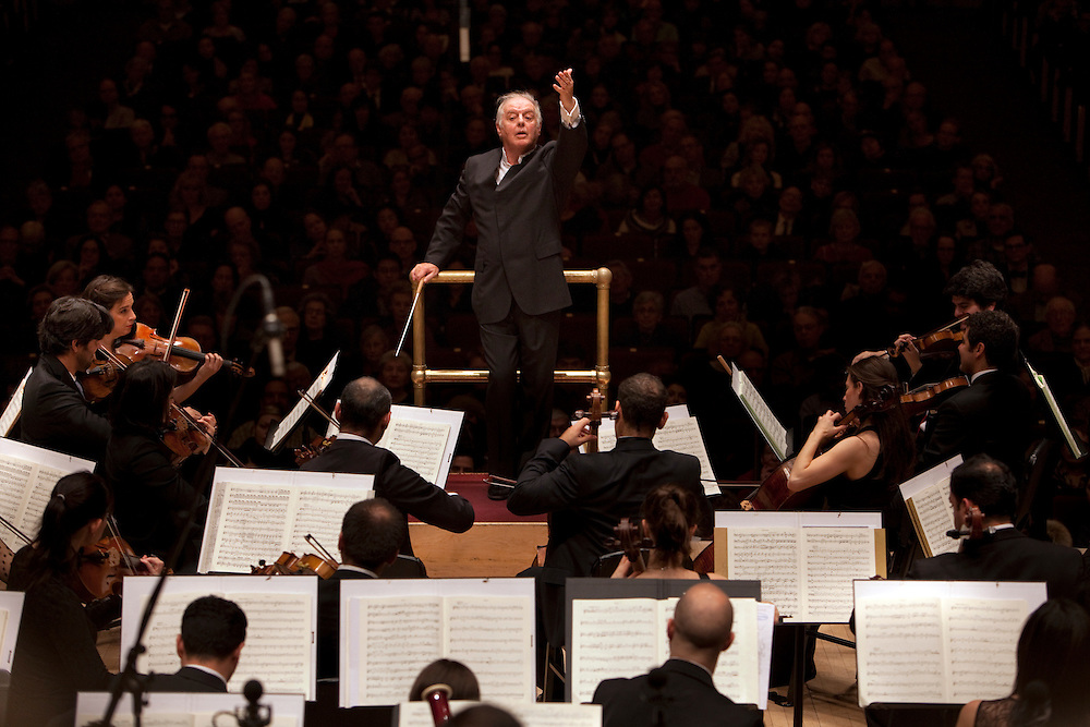 The West-Eastern Divan Orchestra with conductor Daniel Barenboim and the Westminster Symphonic Choir perform at Carnegie Hall in New York, NY on February 03, 2013.