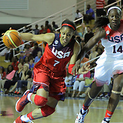 United States Guard Maya Moore (7) drives pass United States Center Tina Charles (14) in the first half of a USA Women's National Team Exhibition game between Red and White Thursday, Sept. 11, 2014 at The Bob Carpenter Sports Convocation Center in Newark, DEL