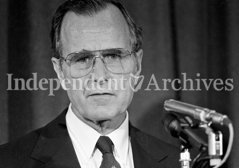 American Vice President George H W Bush at a press conference in Dublin Castle, 05/07/1983 (Part of the Independent Newspapers Ireland/NLI Collection).