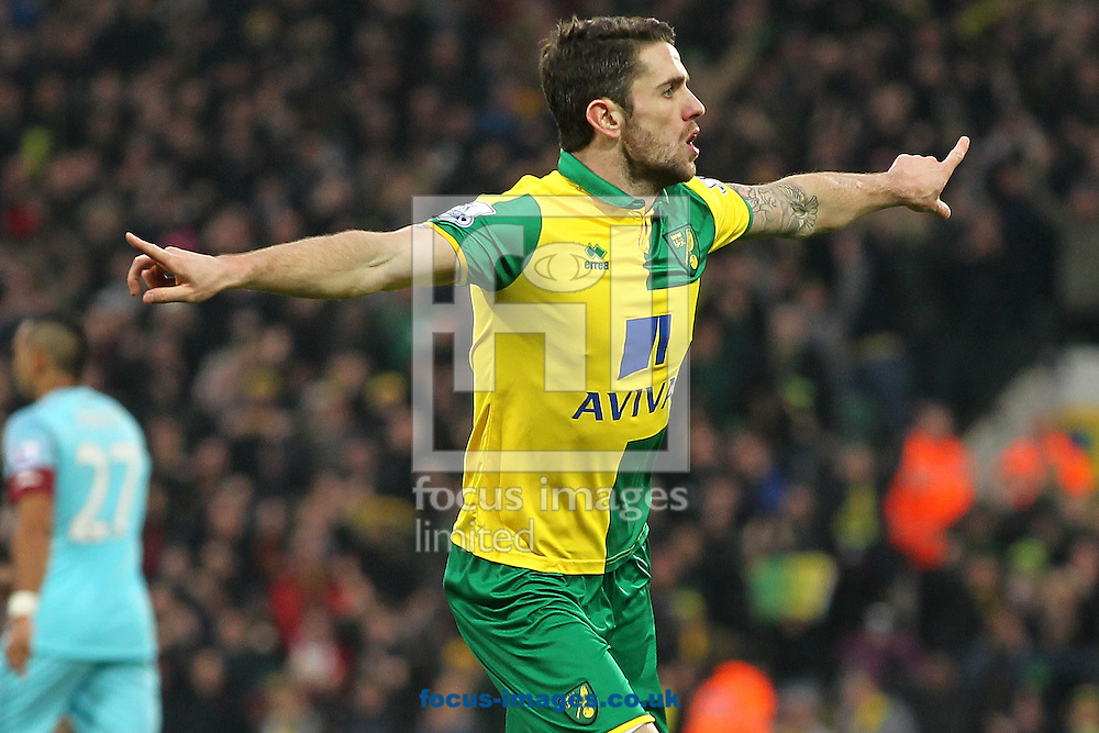 Robbie Brady of Norwich celebrates scoring his sides 1st goal during the Barclays Premier League match at Carrow Road, Norwich<br /> Picture by Paul Chesterton/Focus Images Ltd +44 7904 640267<br /> 13/02/2016