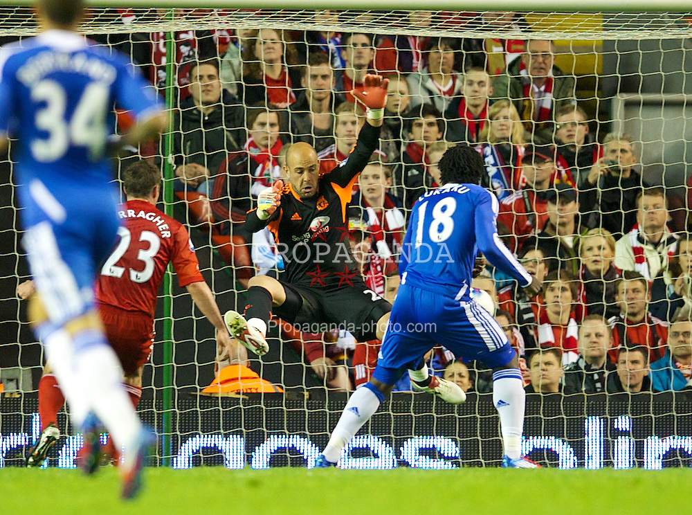 LIVERPOOL, ENGLAND - Tuesday, May 8, 2012: Liverpool's goalkeeper Jose Reina makes a save from Chelsea's Romelu Lukaku during the final home Premiership match of the season at Anfield. (Pic by David Rawcliffe/Propaganda)