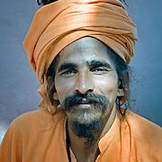 Portrait of a holy man (saddhu) in an India ashram.