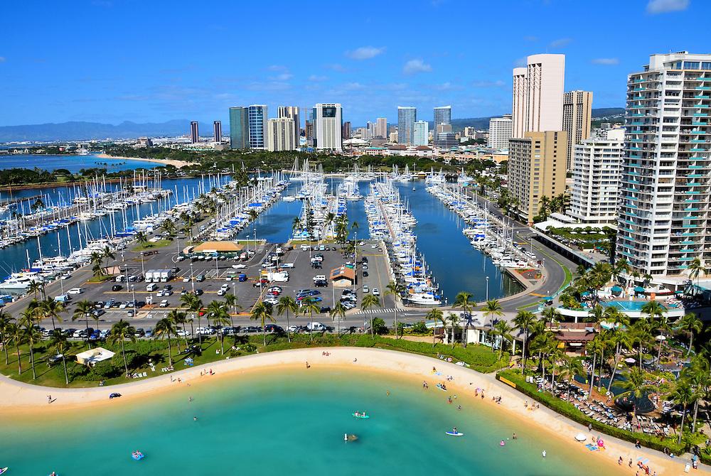 Aerial View Of Ala Wai Harbor And Downtown In Honolulu O Ahu Hawaii Encircle Photos