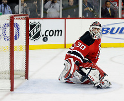 December 7, 2007; Newark, NJ, USA;  New Jersey Devils goalie Martin Brodeur (30) makes a save against the Washington Capitals during the 3rd period at the Prudential Center in Newark, NJ.  The Devils won 3-2, their ninth win in a row.