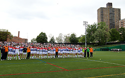 May 6, 2012; Bronx, NY; USA;  New York and Sligo line up before huddles before their game at Gaelic Park.