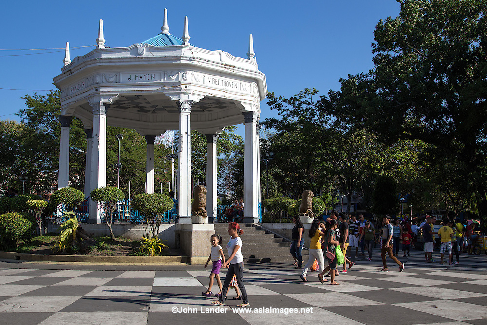 Bacolod Public Plaza is one of the city's notable landmarks located in the heart of downtown across from the San Sebastian Cathedral. The plaza is in the shape of a trapezoid with trees around the periphery.  The gazebo in the center is used for concerts - inscribed on the sides are composers Beethoven, Wagner, Haydn and Mozart.  The plaza was constructed as a place for recreation and cultural activities. The plaza is the heart of Bacolod's famous MasKara Festival celebration.