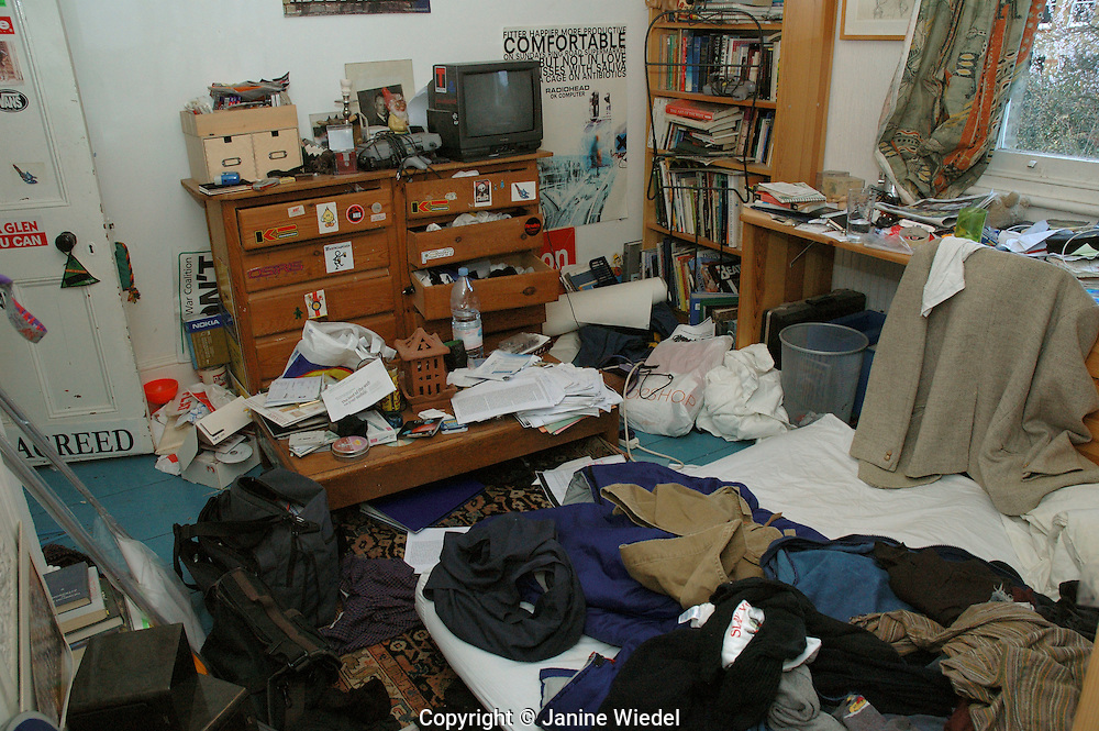 Extremely messy room of a teenage.