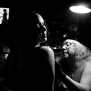 Margaret Weller gives play piercings to Rose during Fetish Night at Diablo's in Eugene, Ore. The temporary piercings go just a few layers into the skin causing an endorphin rush.