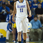 Delaware Forward Elena Delle Donne (11) walks up the court in first half of an NCAA college basketball game against George Mason Thursday, Feb. 23, 2012, at the Bob Carpenter Center in Newark, Del. (AP Photo/Saquan Stimpson)