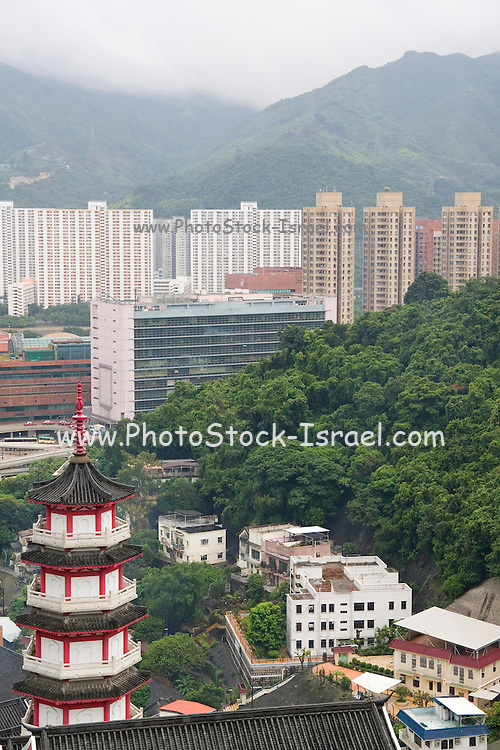 Asia, Southeast, People's Republic of China, Hong Kong, The view of Hong Kong from the top of the temple of 10,000 Buddhas