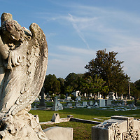 USA, Georgia, Savannah, Statue of Christian angel and cross among graveyard statues at Catholic Cemetery on summer evening