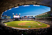 CULIACAN, MEXICO - FEBRUARY 6, 2017: A general wide angle interior evening view from the stands during the Caribbean Series semi-final game between Cuba and Mexico at Estadio de los Tomateros on February 6, 2017 in Culiacan, Rosales. (Photo by Jean Fruth)