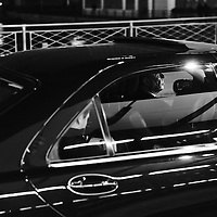 Chauffeur driven limousine in the banking district.